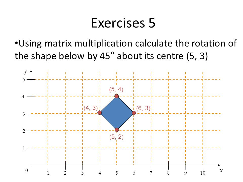 Exercises 5 Using matrix multiplication calculate the rotation of the shape below by 45° about its centre (5, 3)