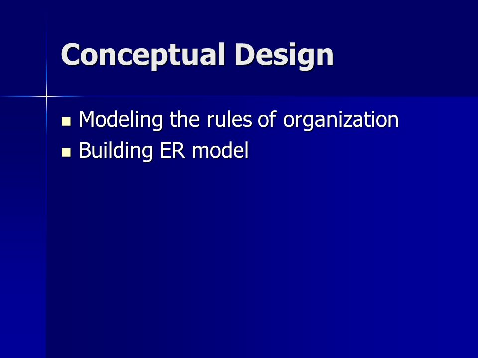 Conceptual Design Modeling the rules of organization Building ER model