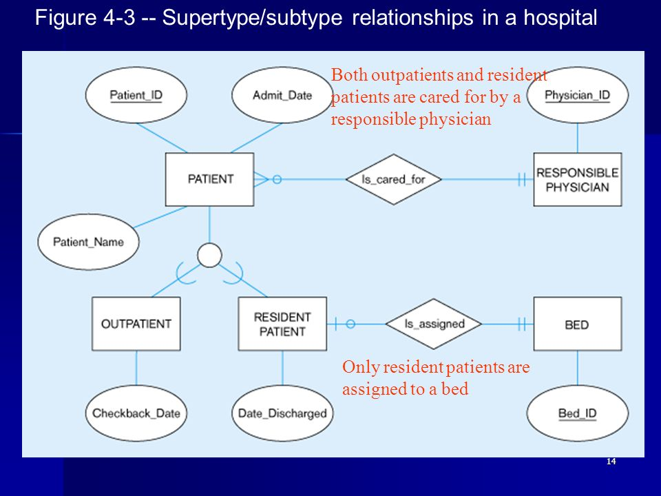 Figure 4-3 -- Supertype/subtype relationships in a hospital