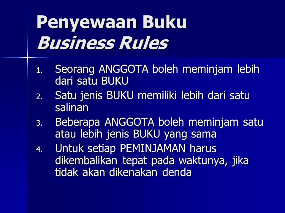 Penyewaan Buku Business Rules