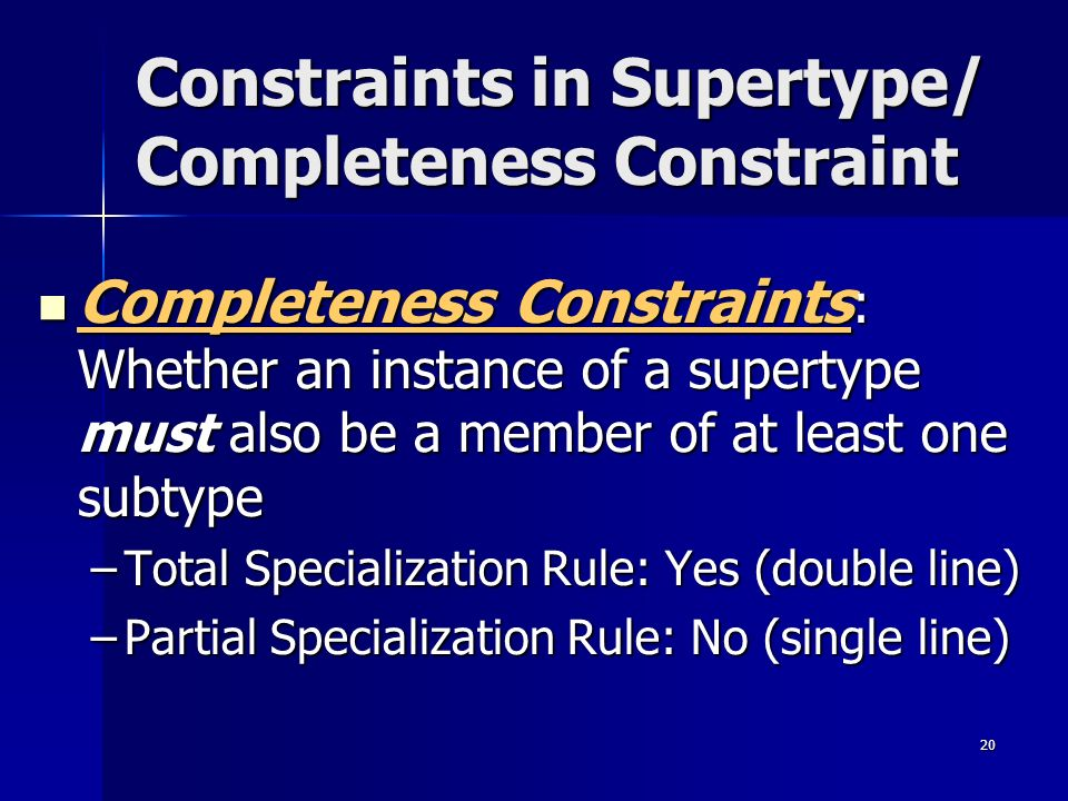 Constraints in Supertype/ Completeness Constraint