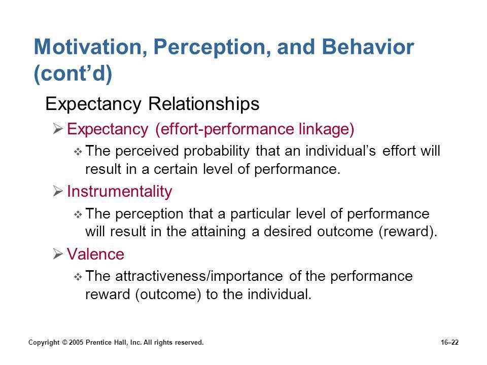 Motivation, Perception, and Behavior (cont'd)