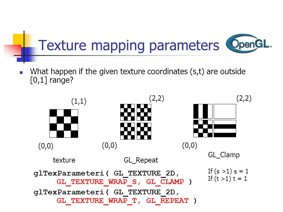 Texture mapping parameters