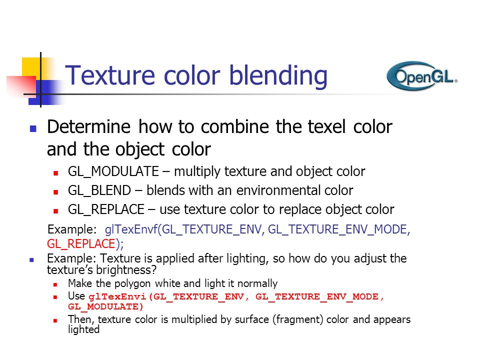 Texture color blending