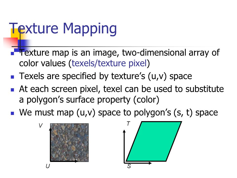 Texture Mapping Texture map is an image, two-dimensional array of color values (texels/texture pixel)