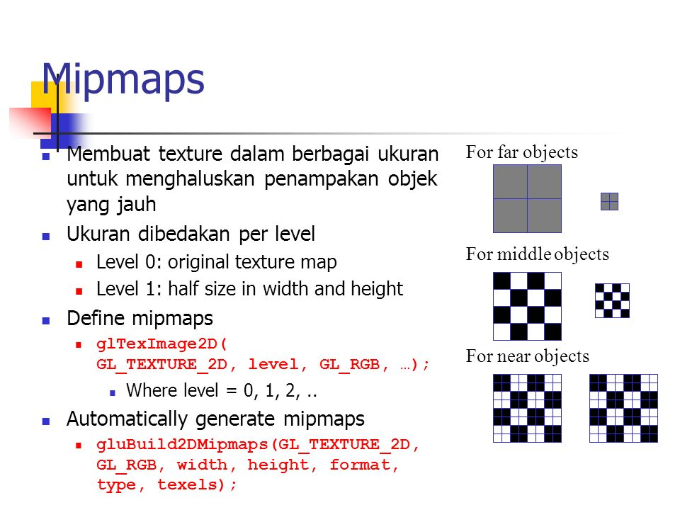 Mipmaps Membuat texture dalam berbagai ukuran untuk menghaluskan penampakan objek yang jauh. Ukuran dibedakan per level.