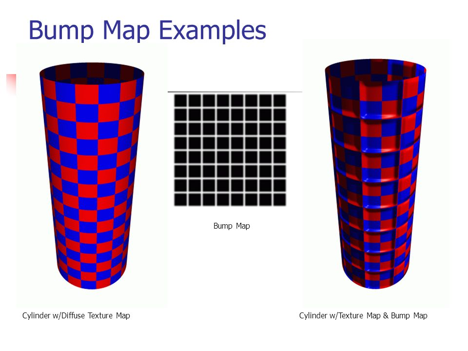 Bump Map Examples Bump Map Cylinder w/Diffuse Texture Map
