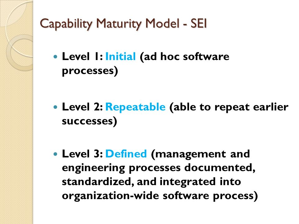 Capability Maturity Model - SEI