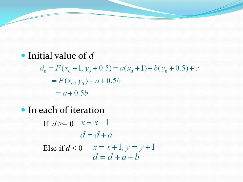 Initial value of d In each of iteration If d >= 0 Else if d < 0