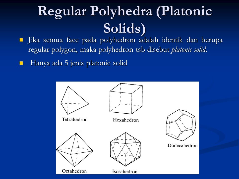 Regular Polyhedra (Platonic Solids)
