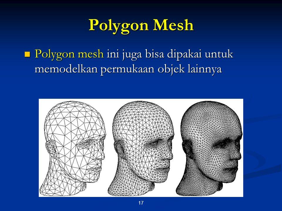 Polygon Mesh Polygon mesh ini juga bisa dipakai untuk memodelkan permukaan objek lainnya