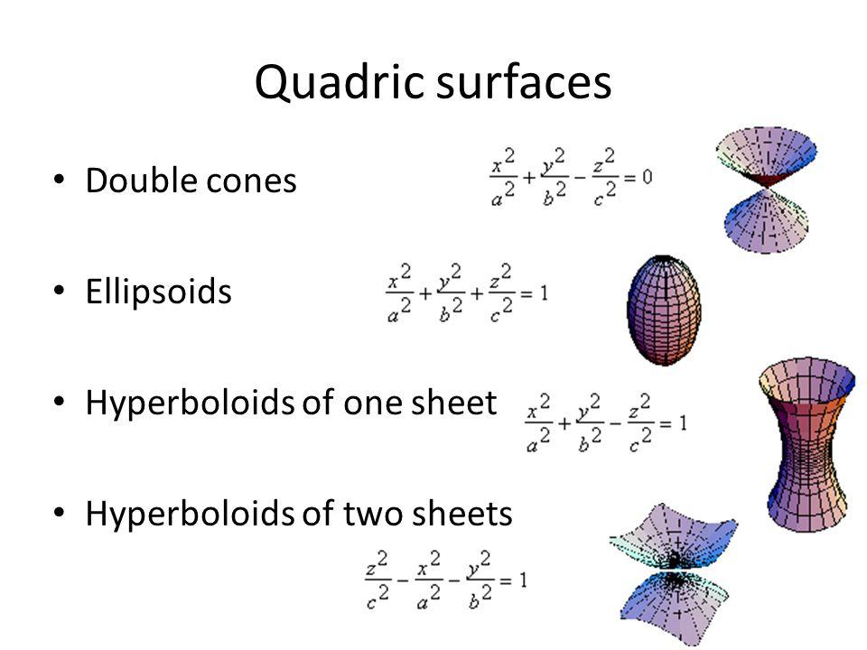 Quadric surfaces Double cones Ellipsoids Hyperboloids of one sheet