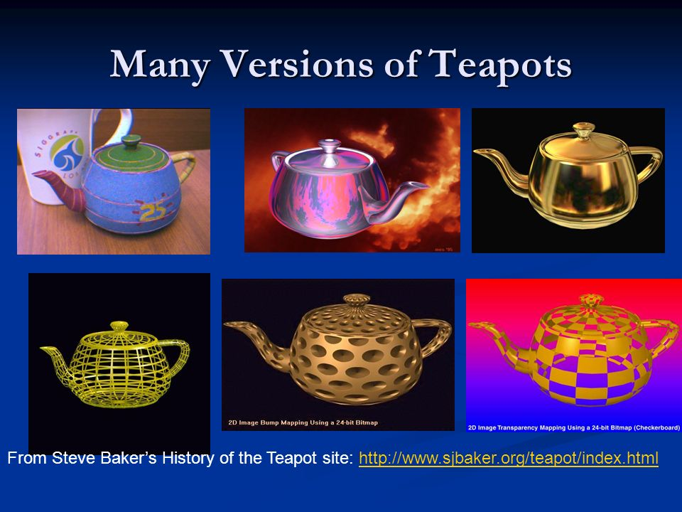 Many Versions of Teapots