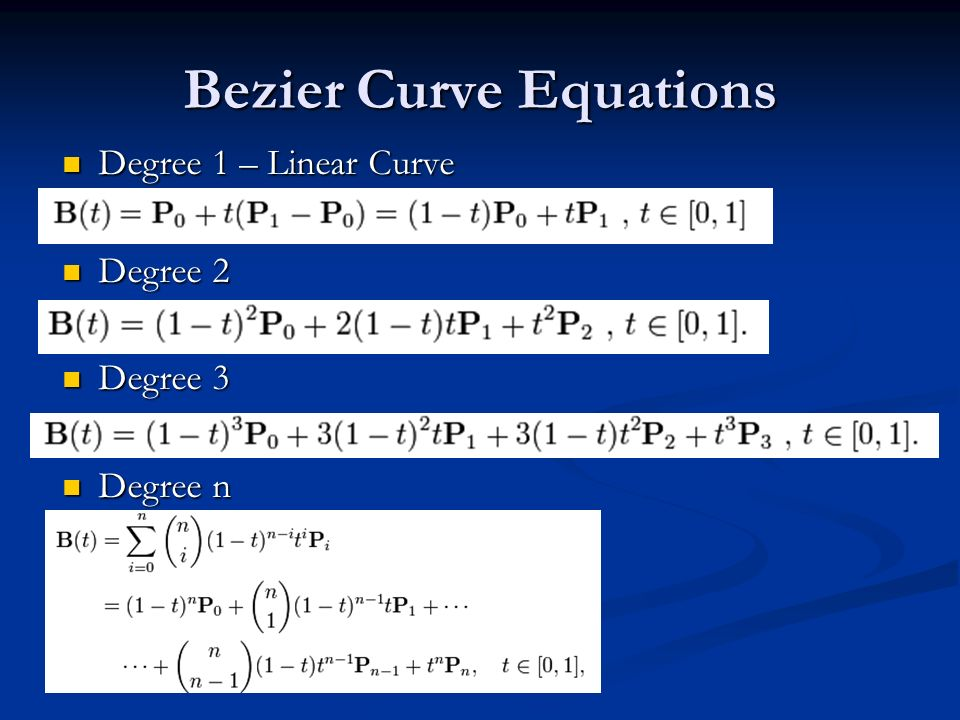 Bezier Curve Equations