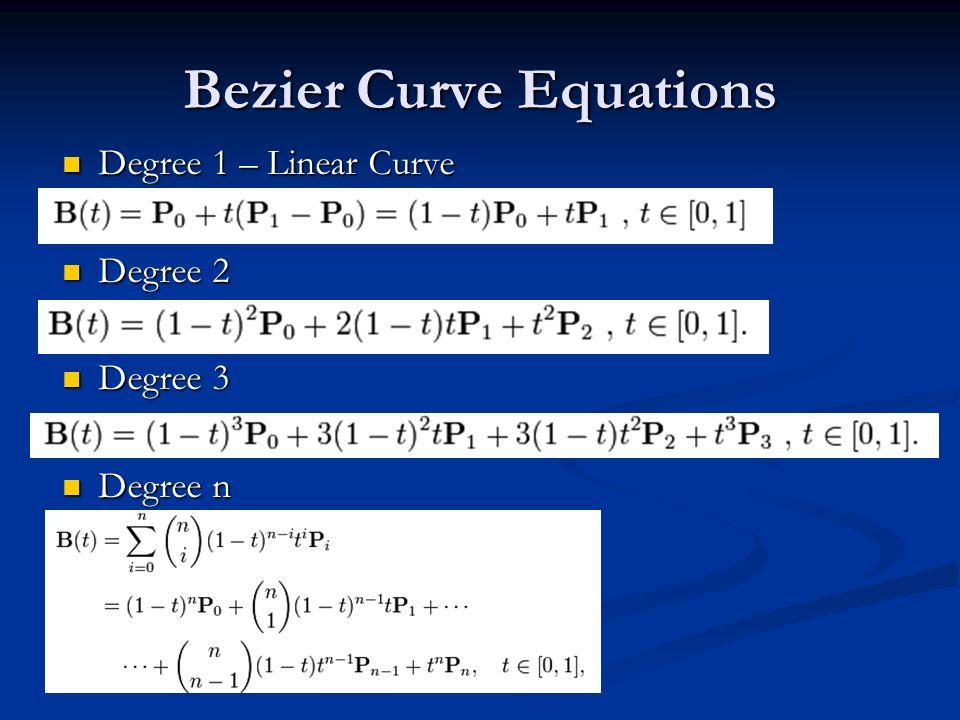 Bezier Curve Equations
