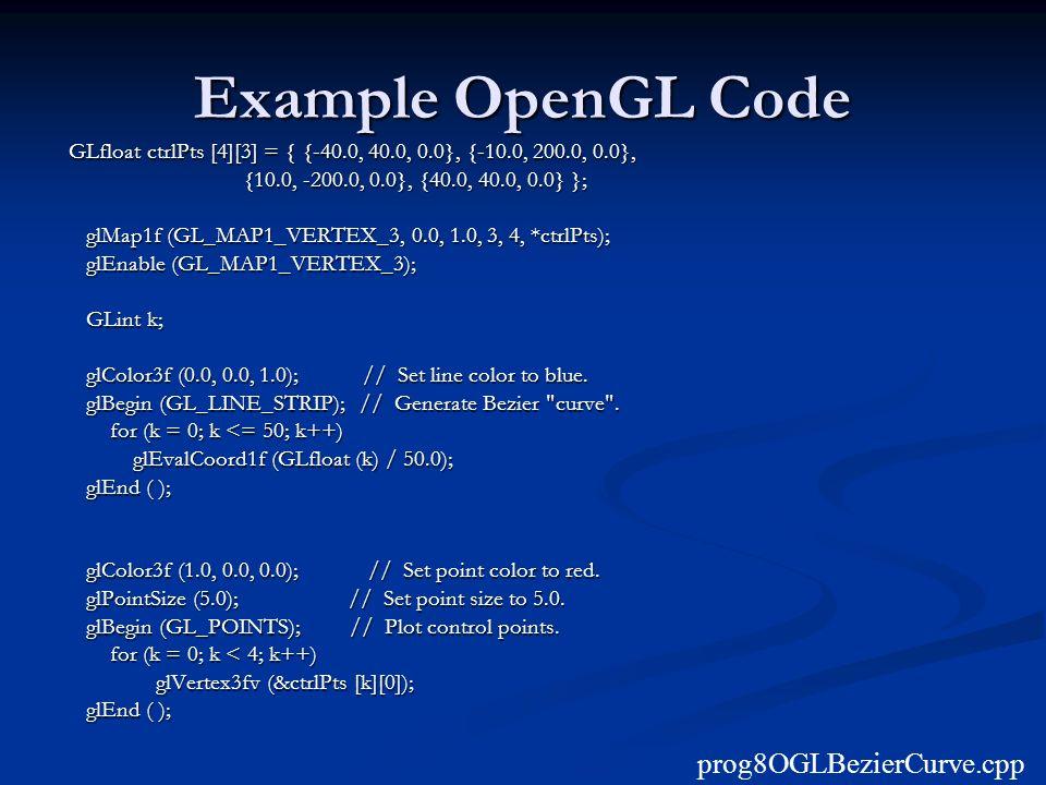 Example OpenGL Code prog8OGLBezierCurve.cpp