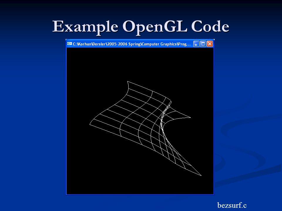Example OpenGL Code bezsurf.c