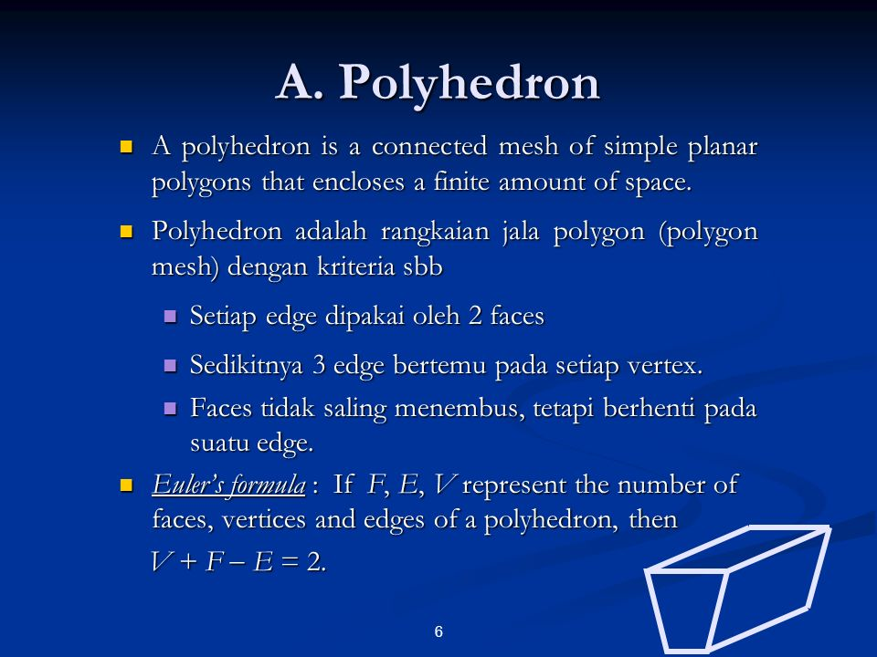 A. Polyhedron A polyhedron is a connected mesh of simple planar polygons that encloses a finite amount of space.