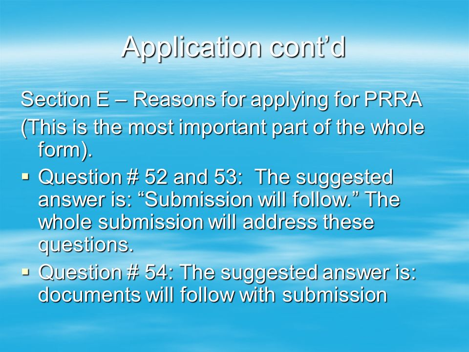 reasons for applying