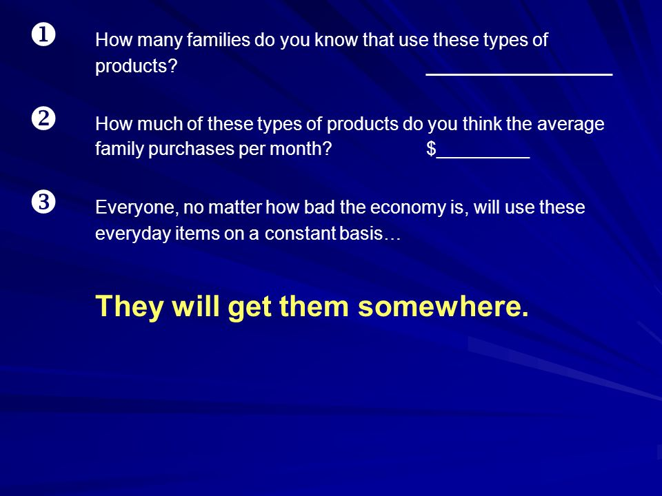 u. How many families do you know that use these types of. products