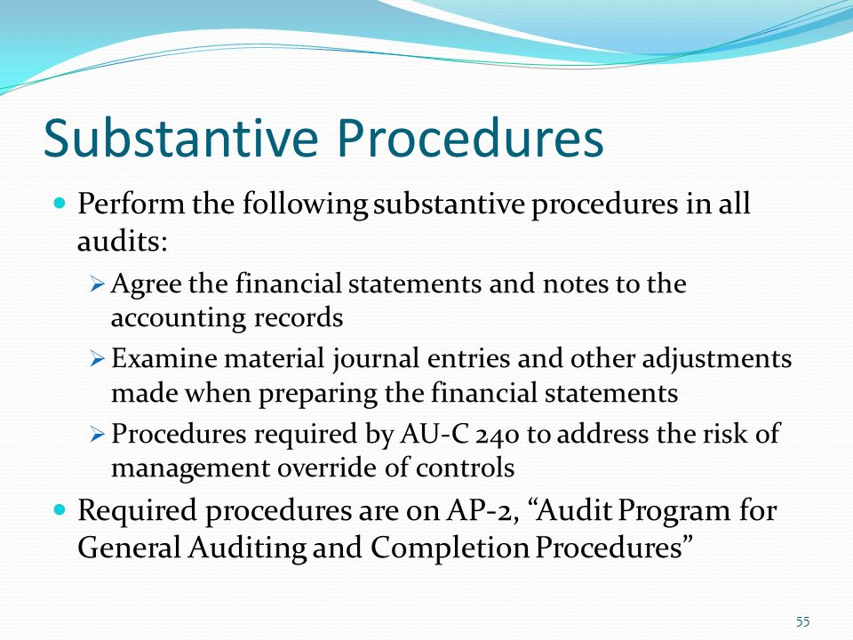 substantive procedures Audits are internal and external reviews of a company's financial information companies use audits to ensure that their financial information is accurate and represents the true nature of financial transactions.