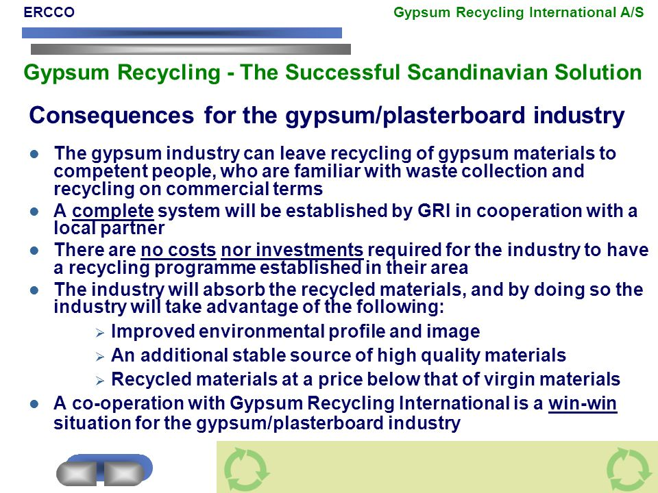 Consequences for the gypsum/plasterboard industry