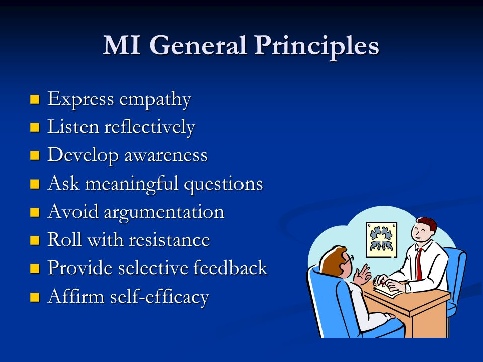 MI General Principles Express empathy Listen reflectively