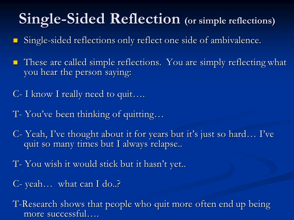 Single-Sided Reflection (or simple reflections)