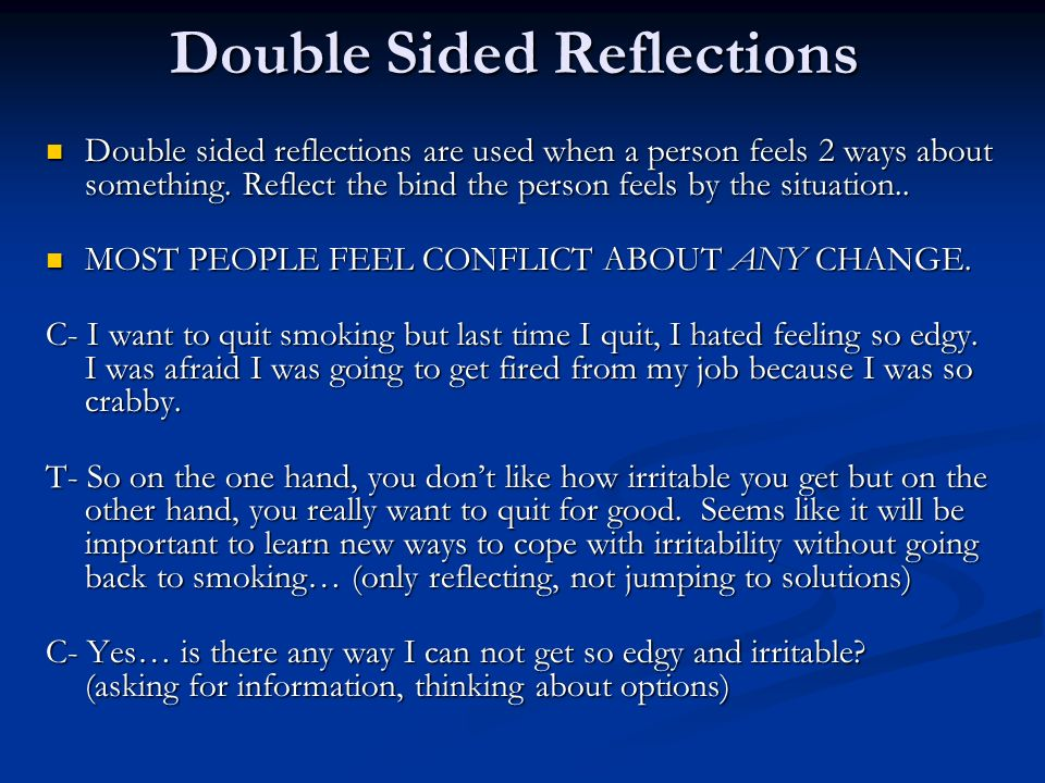 Double Sided Reflections