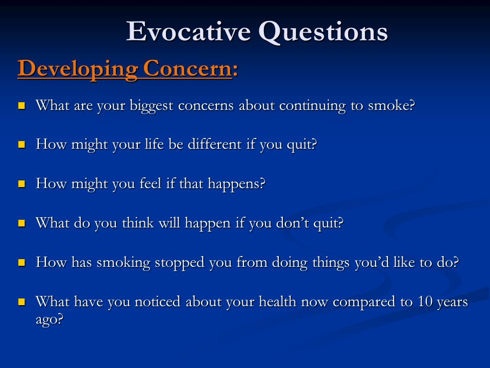 Evocative Questions Developing Concern: