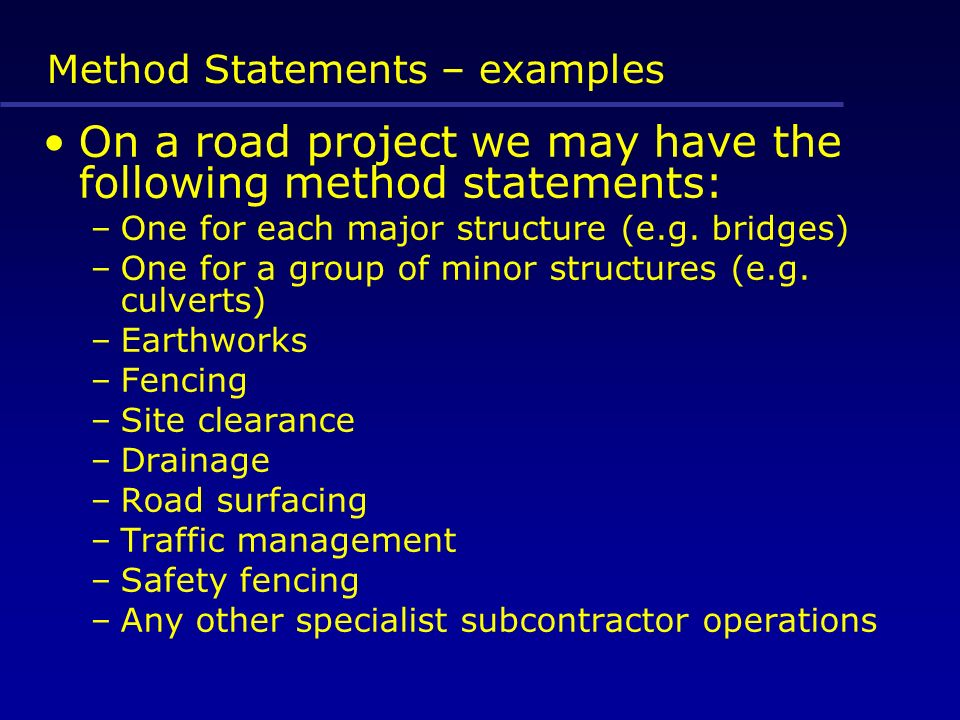 10 Method Statements U2013 Examples  Method Statements Examples