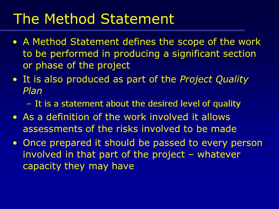 The Method Statement A Method Statement Defines The Scope Of The Work To Be  Performed In  Health And Safety Method Statement Template