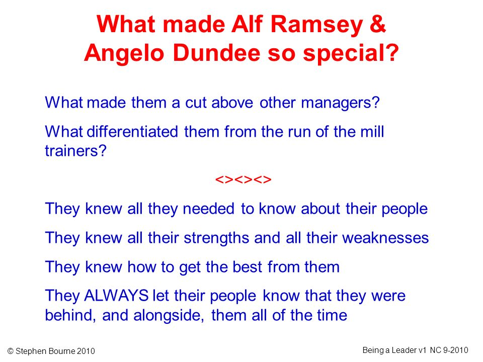 What made Alf Ramsey & Angelo Dundee so special