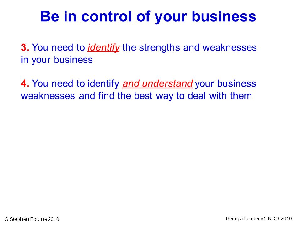 Be in control of your business