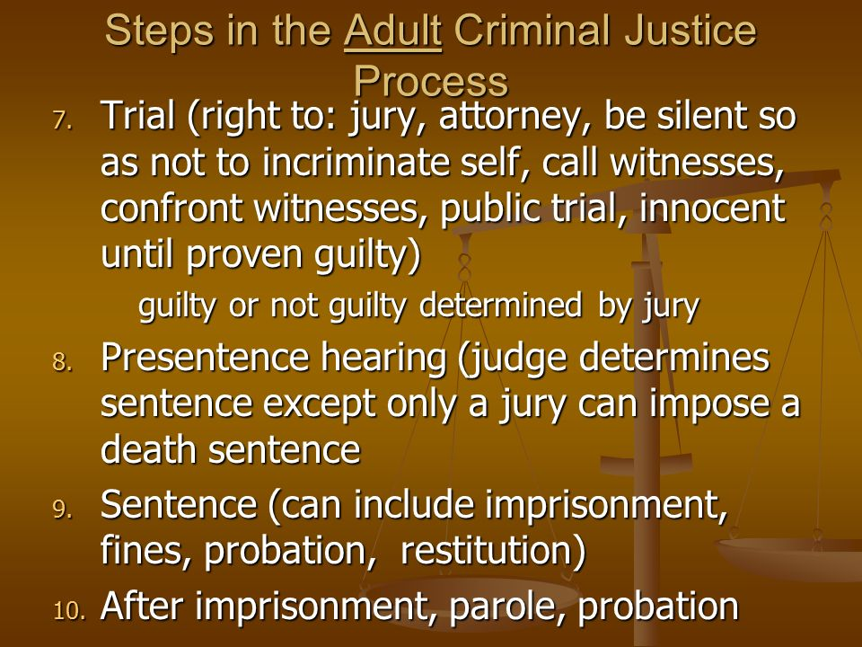 an outline of the criminal trial process from jury selection to sentencing Criminal law stages of a the defendant has a constitutional right to a jury trial in most criminal matters during the sentencing phase of a criminal case.
