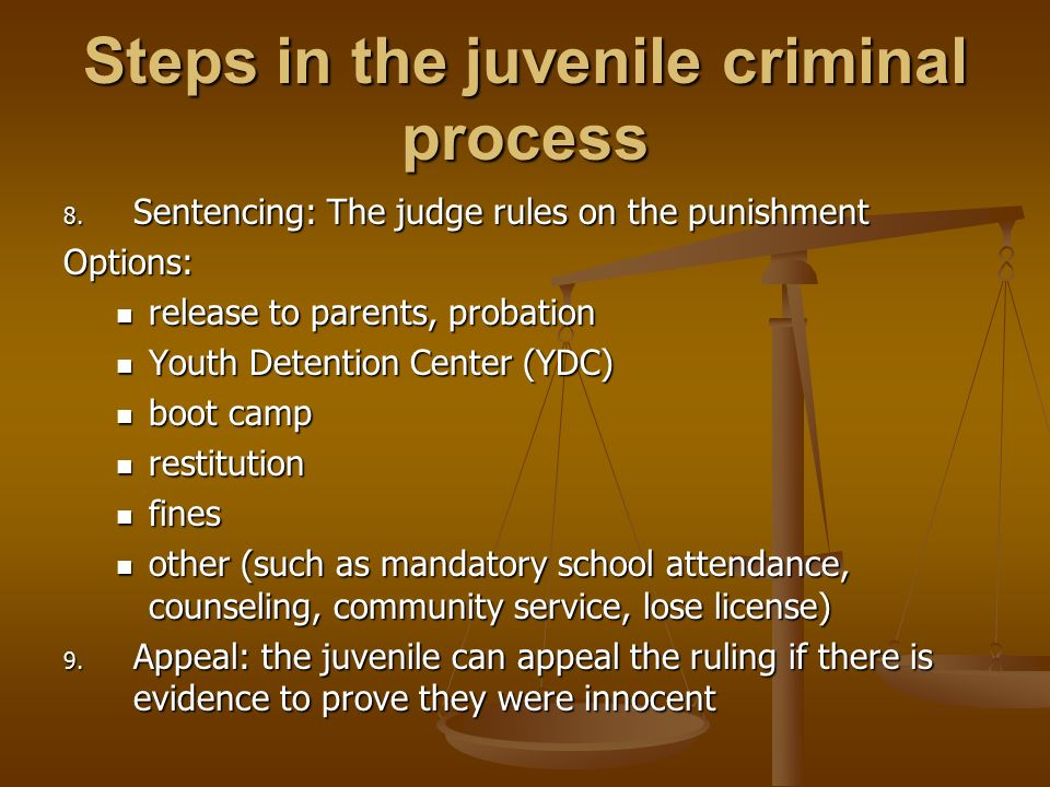 ways to punish juvenile criminals Is stricter punishment the answer to juvenile crime the only long term solution to juvenile crime is reform of the child child offenders should be punished harder what do you think yes (45%) no (55%) related debates.