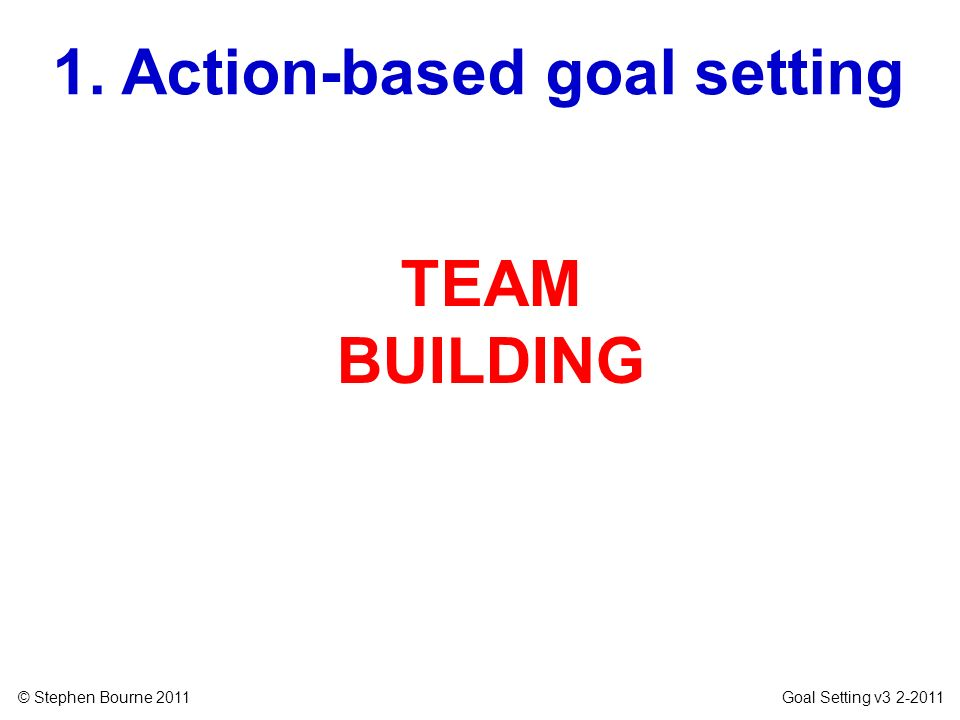 1. Action-based goal setting