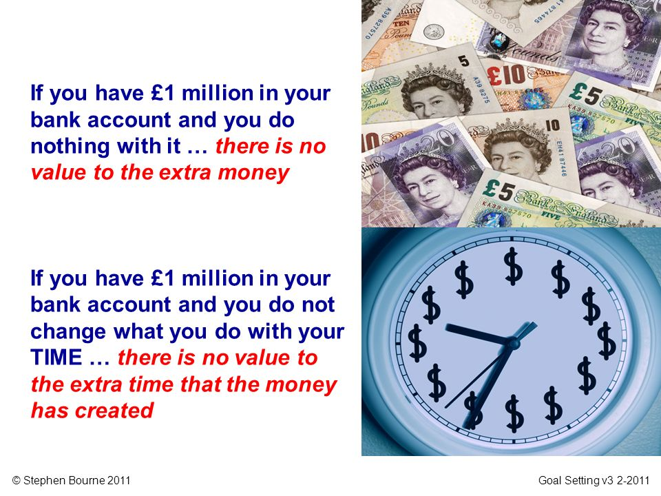 If you have £1 million in your bank account and you do nothing with it … there is no value to the extra money
