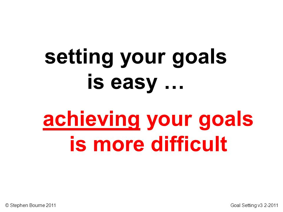 setting your goals is easy … achieving your goals is more difficult