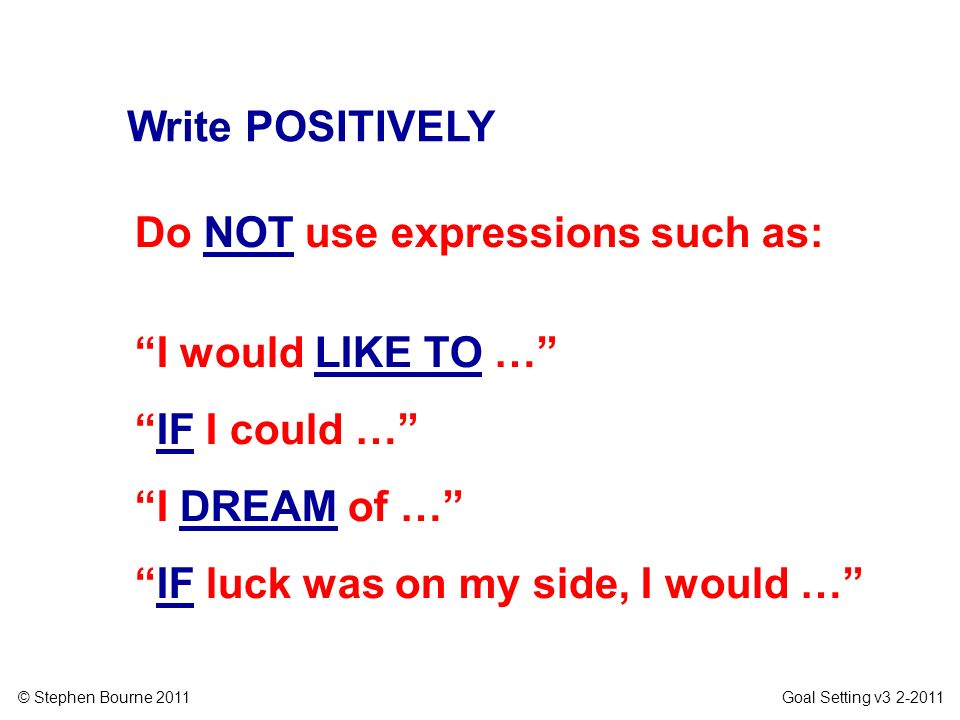 Write POSITIVELYDo NOT use expressions such as: I would LIKE TO … IF I could … I DREAM of … IF luck was on my side, I would …