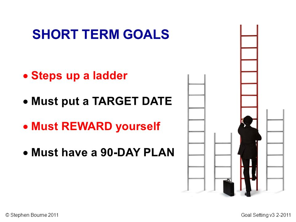 SHORT TERM GOALS  Steps up a ladder  Must put a TARGET DATE