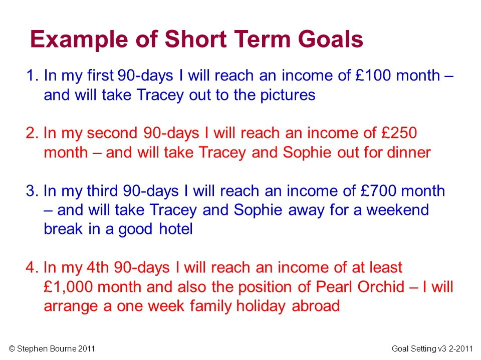 Example of Short Term Goals