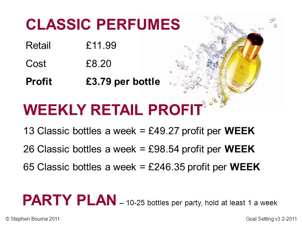 PARTY PLAN – 10-25 bottles per party, hold at least 1 a week