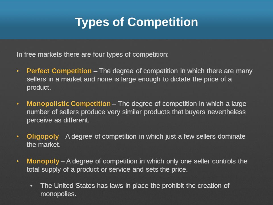 Types of Competition In free markets there are four types of competition: