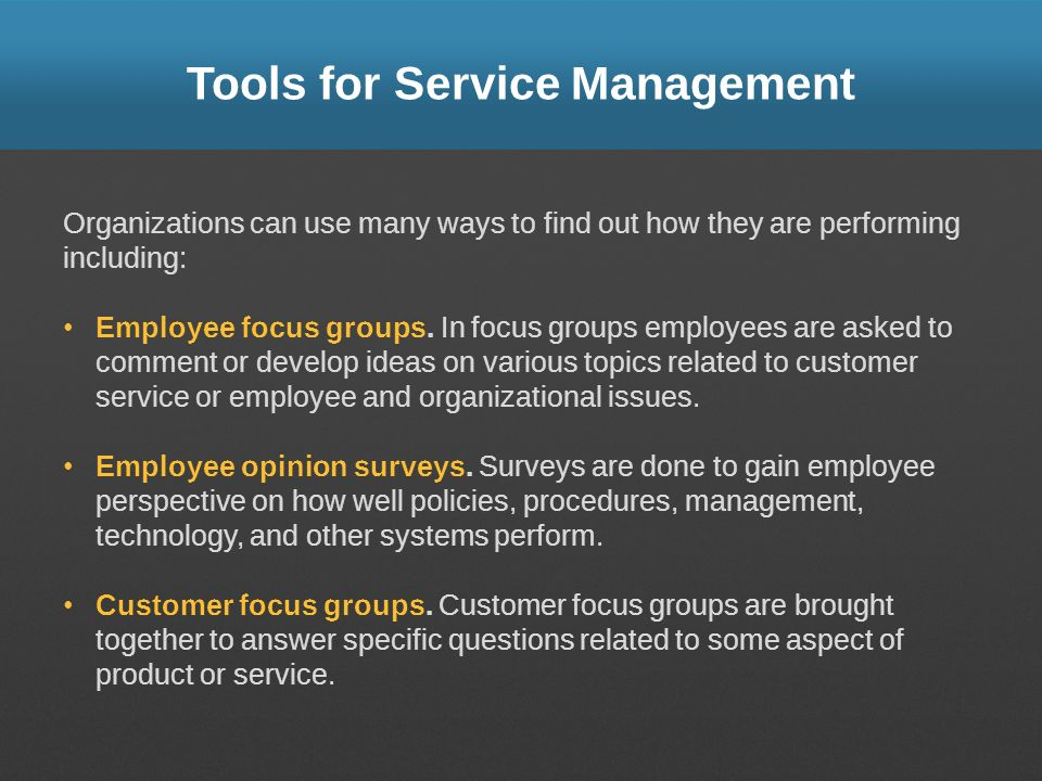 Tools for Service Management