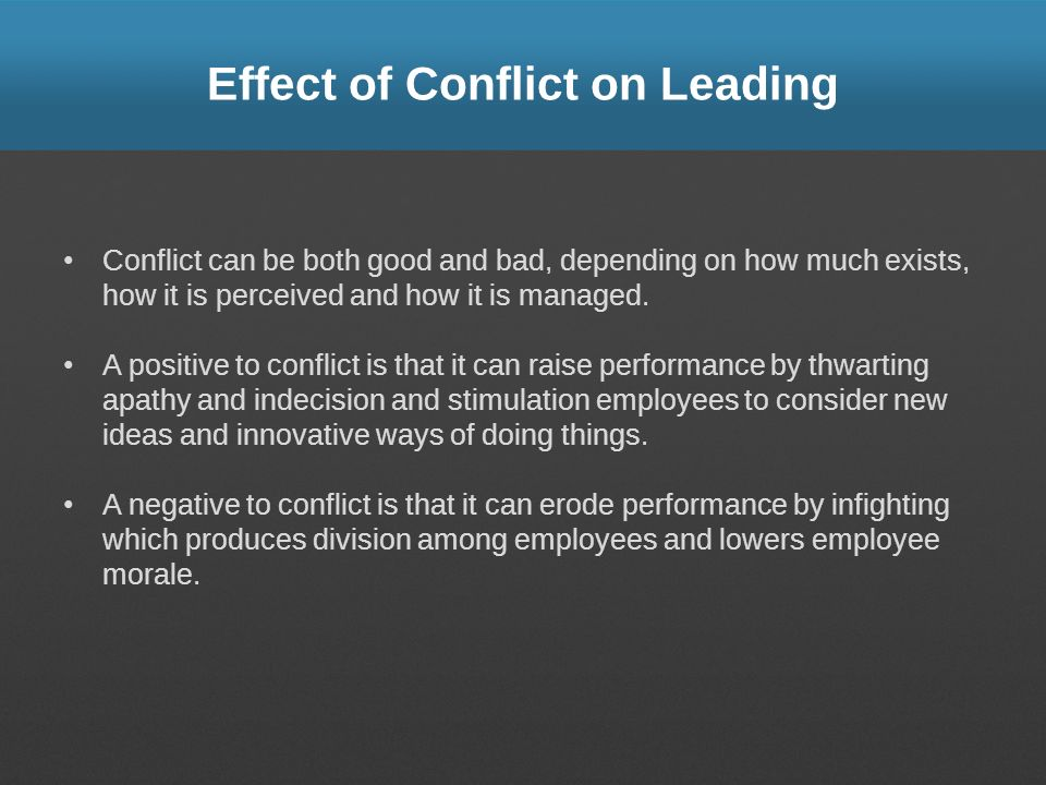 Effect of Conflict on Leading