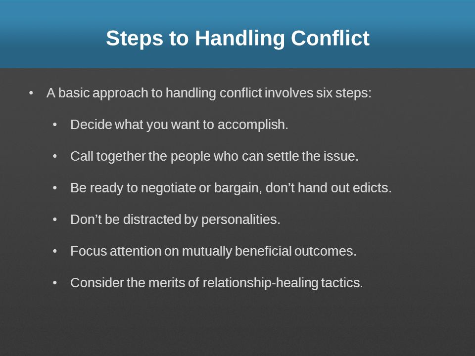 Steps to Handling Conflict