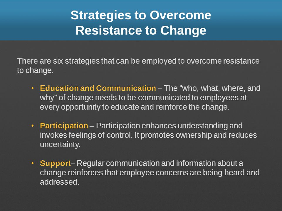 Strategies to Overcome Resistance to Change