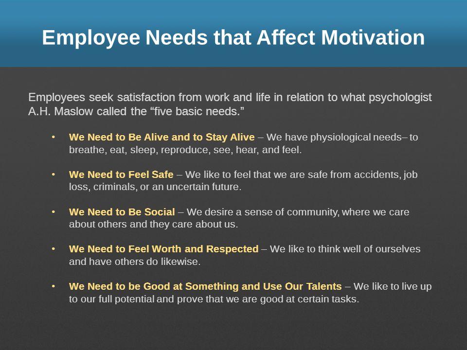 Employee Needs that Affect Motivation