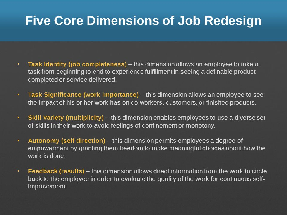 Five Core Dimensions of Job Redesign